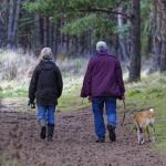 People walking dog