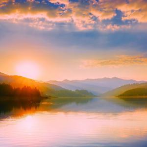 Sunrise over a beautiful lake