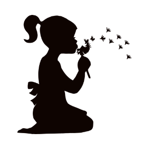 Silhouette of girl kneeling and blowing a dandelion clock